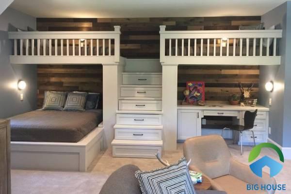 Mẫu gạch vân gỗ ốp tường phòng ngủ cho bé gái phong cách đơn giản