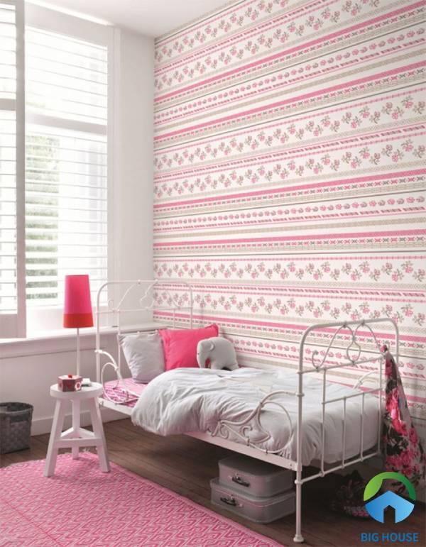 Mẫu gạch ốp tường họa tiết thổ cẩm gam màu hồng nhẹ nhàng