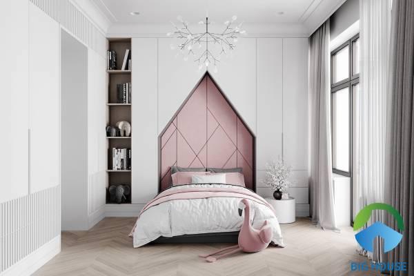 Gạch ốp tường men bóng cùng cách trang trí phòng ngủ dễ thương cho bé gái