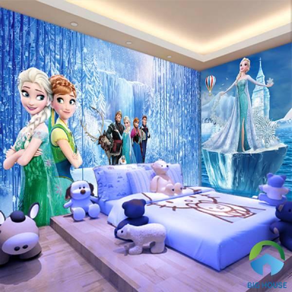 Gạch ốp tường phòng ngủ 3D họa tiết hoạt hình chắc chắn bé gái nào cũng sẽ rất thích