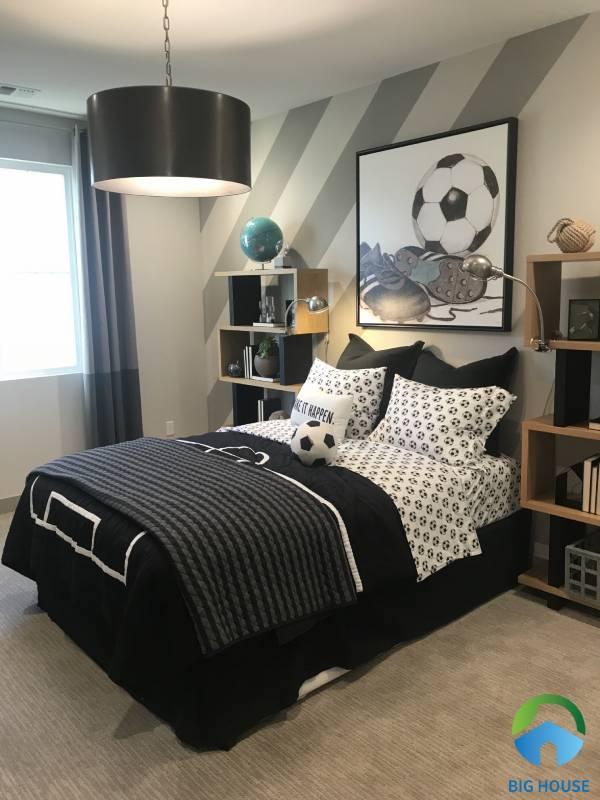 Gạch ốp tường phòng ngủ cho bé trai với tông chủ đạo là màu xám