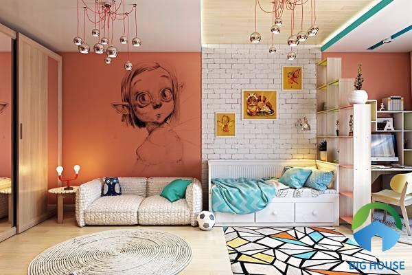 Mẫu gạch thẻ ốp tường phòng ngủ dành cho bé trai họa tiết giả cổ