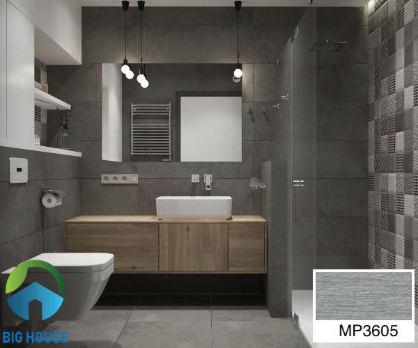Gạch ốp nhà tắm 30x60 vân đá Mikado MP3605 gam màu xám đơn giản và tinh tế