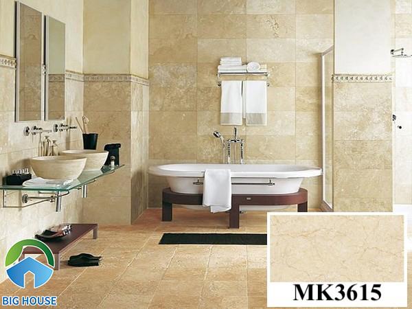 Gạch ốp nhà vệ sinh 30x60 vân đá Mikado MP3615 với gam màu vàng ấm cúng