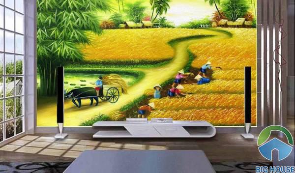Tranh gạch 3D đồng quê với khung cảnh cánh đồng lúa mùa màng bội thu