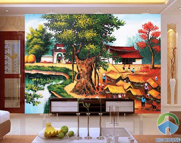 Mẫu tranh gạch với họa tiết là hình ảnh cây đa , đình làng và phiên chợ quê ấn tượng