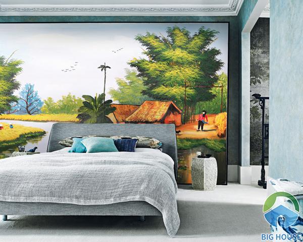 Tranh gạch 3D đồng quê trang trí phòng ngủ