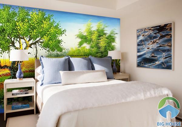Tranh gạch 3D đồng quê với hình ảnh cây đa, cánh đồng lúa và lũy tre thân thuộc
