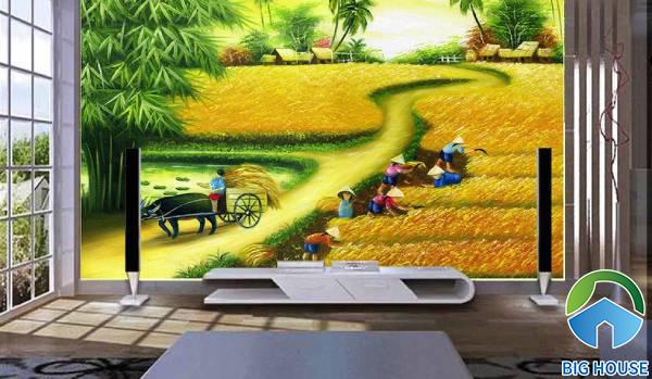 Gạch 3D phong cảnh làng quê truyền thống với cánh đồng lúa chính vàng