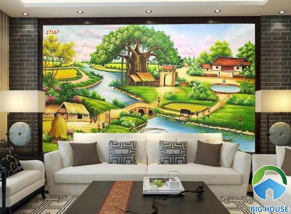 Gạch 3D phong cảnh làng quê với hình ảnh gốc đa giếng nước yên bình