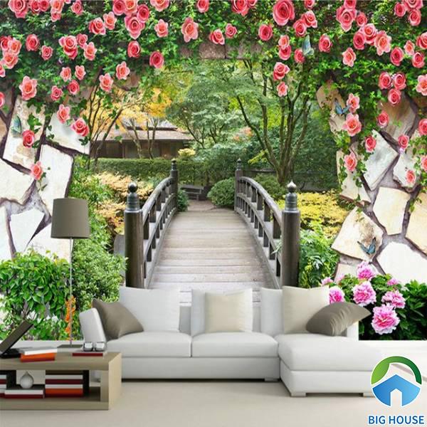 Tranh gạch 3D phong cảnh hoa lá