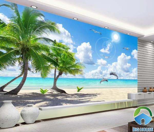 Mẫu tranh gạch 3d phong cảnh biển cả nên thơ và xanh mát