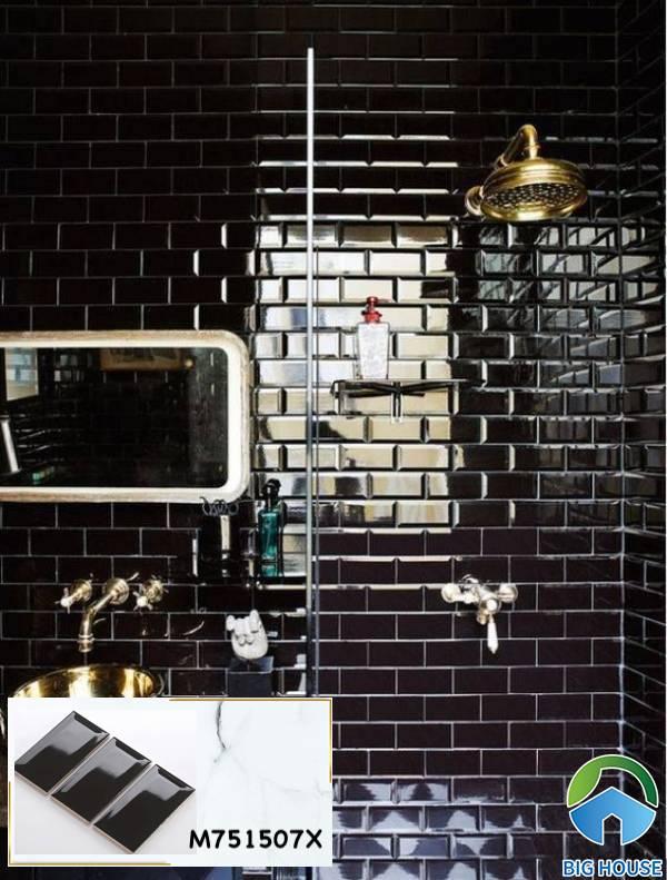 Gạch ốp tường màu đen M751507X ốp tường phòng tắm hiện đại