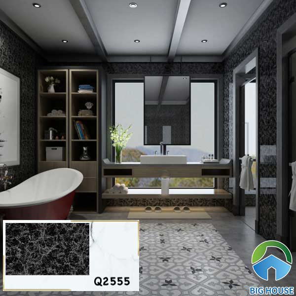 Gạch ốp tường màu đen vân đá Viglacera Q2555 mang vẻ đẹp sang trọng