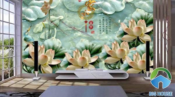 Mẫu gạch 3D hoa sen đang mùa nở rộ vươn lên đón ánh nắng