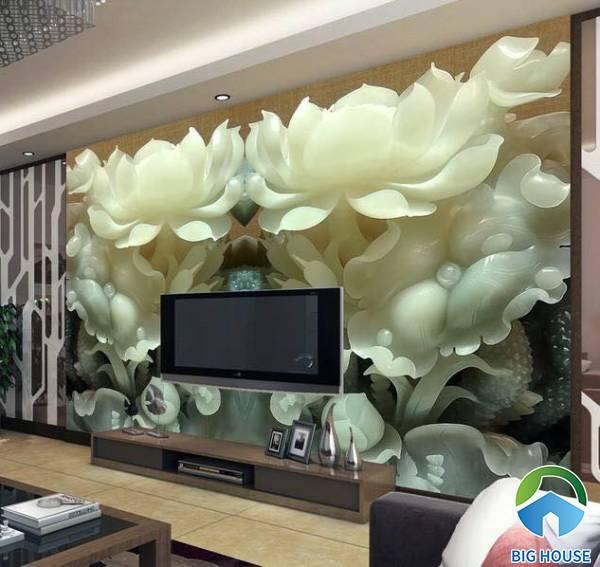 Tranh gạch 3D giả ngọc họa tiết bông sen trắng được điêu khắc một cách tinh tế