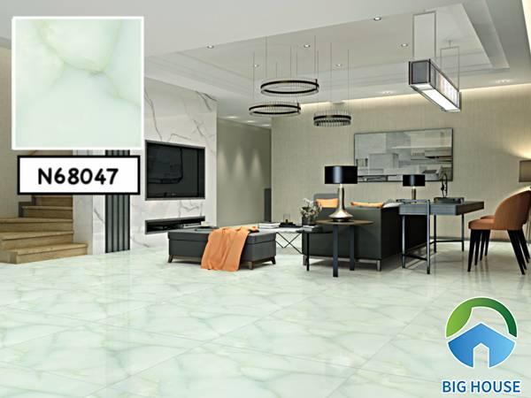 Mẫu gạch lát nền màu xanh ngọc Ý Mỹ  N68047 mang đến cho phòng khách vẻ đẹp sang trọng