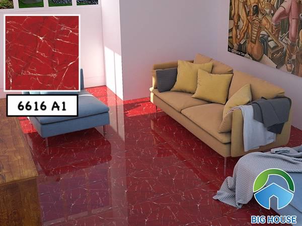 Mẫu gạch lát nền phòng khách Catalan 6616 A1 gam màu đỏ nổi bật