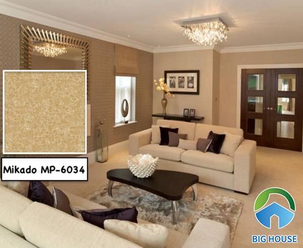 Mẫu gạch lát nền cho người mệnh Thổ Mikado mã MP-6034 họa tiết vân đá nâu vàng