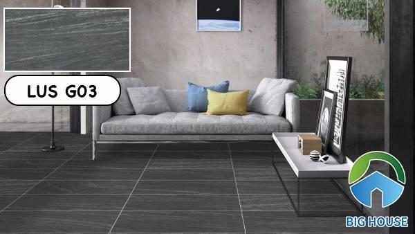 Gạch lát nền Viglacera LUS G03 tông màu xám hiện đại cho phòng khách