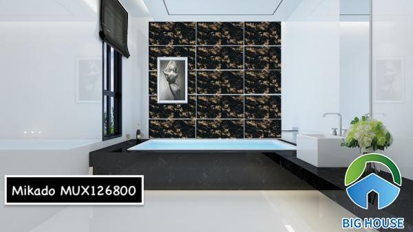 Mẫu gạch ốp nhà vệ sinh màu đen MUX126800 đến từ thương hiệu Mikado