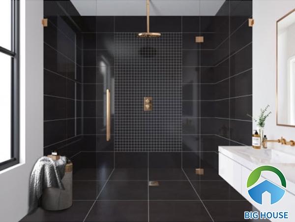 Chú ý cách phối hợp gạch ốp tường nhà tắm, nhà vệ sinh màu đen để đạt chuẩn về thẩm mỹ