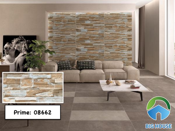 Gạch ốp tường giả cổ Prime 08662 gam màu nâu mang lại vẻ đẹp ấm cúng cho phòng khách